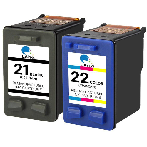 LAinks Replacement for HP 21 and 22 C9351AN/C9352AN Ink Cartridges 2PK - 1 Black, 1 Color HP_1-21_1-22-2PK