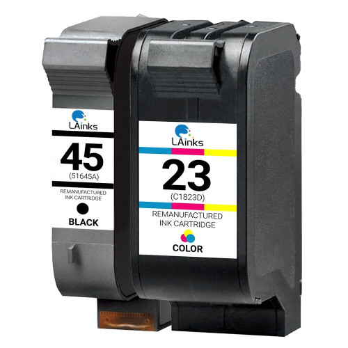 LAinks Replacement for HP 45 and 23 51645A/C1823D Ink Cartridges 2PK - 1 Black, 1 Color HP_1-45_1-23-2PK