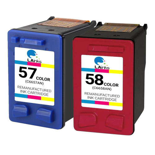LAinks Replacement for HP 58 and 57 C6658AN/C6657AN Ink Cartridges 2PK - 1 Photo and 1 Color HP_1-58-1-57-2PK