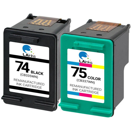 LAinks Replacement for HP 74 and 75 CB335W/CB337W Ink Cartridges 2PK - 1 Black, 1 Color HP_1-74_1-75-2PK