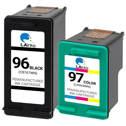 LAinks Replacement for HP 96 and 97 C8767WN/C9363WN Ink Cartridges 2PK - 1 Black, 1 Color HP_1-96_1-97-2PK