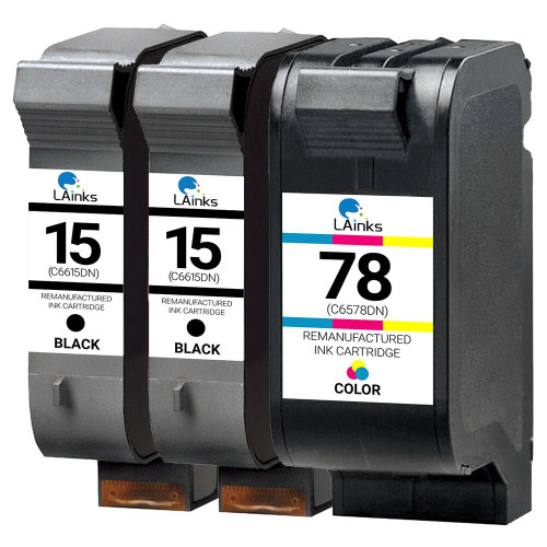 LAinks Replacement for HP 15 and 78 C6615DN/C6625AN Ink Cartridges 3PK - 2 Black, 1 Color HP_2-15_1-78-3PK
