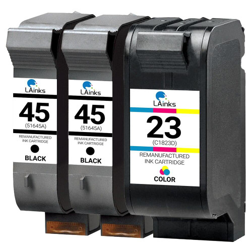 LAinks Replacement for HP 45 and 23 51645A/C1823D Ink Cartridges 3PK - 2 Black, 1 Color HP_2-45_1-23-3PK