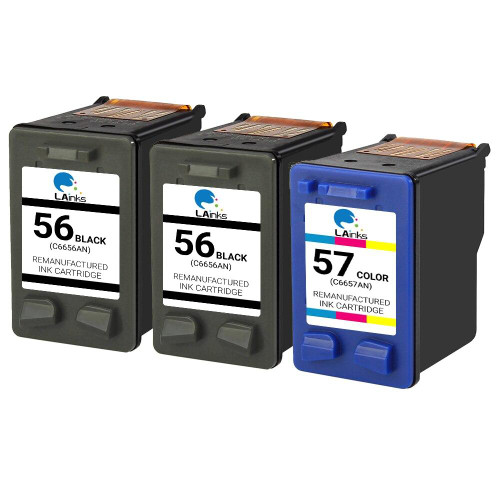 LAinks Replacement for HP 56 and 57 C6656AN/C6657AN Ink Cartridges 3PK - 2 Black, 1 Color HP_2-56-1-57-3PK