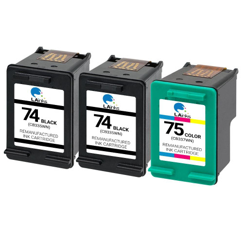 LAinks Replacement for HP 74 and 75 CB335W/CB337W Ink Cartridges 3PK - 2 Black, 1 Color HP_2-74_1-75-3PK