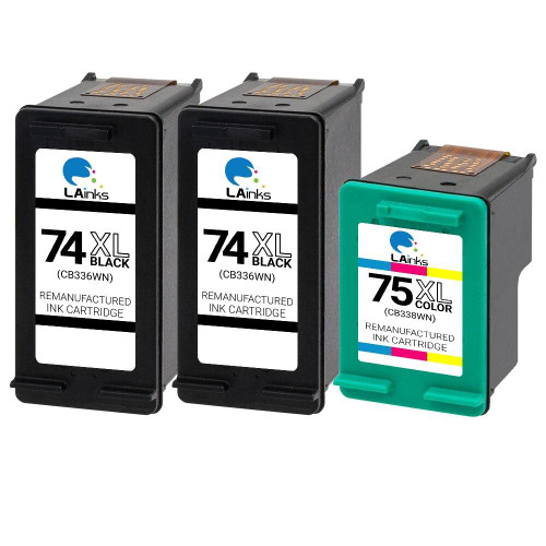 LAinks Replacement for HP 74XL and 75XL CB336W/CB338W High Yield Ink Cartridges 3PK - 2 Black, 1 Color HP_2-74XL_1-75XL-3PK