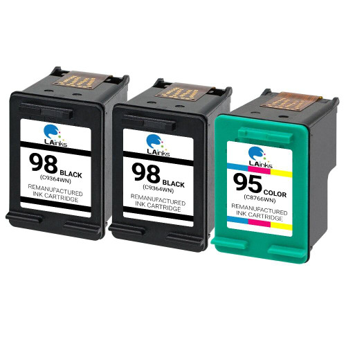 LAinks Replacement for HP 98 and 95 C9364WN/C8766WN Ink Cartridges 3PK - 2 Black, 1 Color HP_2-98_1-95-3PK