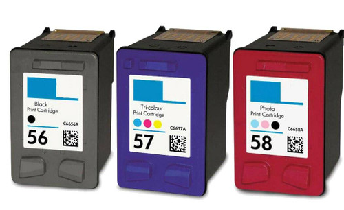 LAinks Replacement for HP 56, 57, 58 C6656AN, C6657AN, C6658AN Ink Cartridges 3PK - 1 Black, 1 Color, 1 Photo HP_56-57-58-3PK