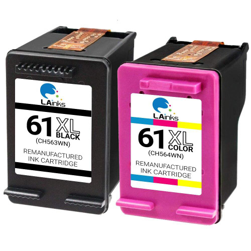 LAinks Replacement for HP 61XL CH563WN/CH564WN High Yield Ink Cartridges 2PK - 1 Black, 1 Color HP_61XL-2PK NG
