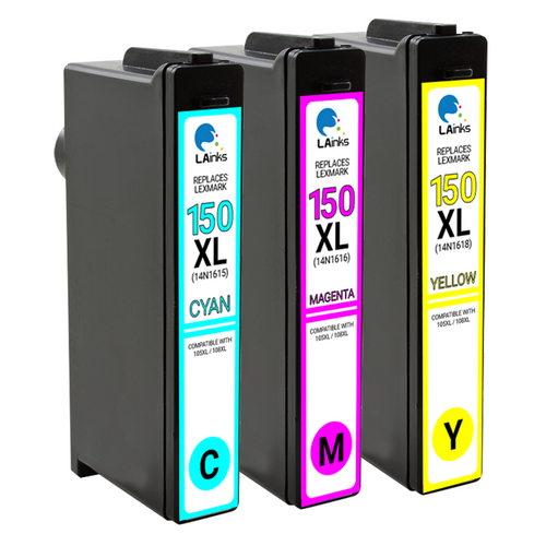 LAinks Replacement for Lexmark #150XL High Yield Ink Cartridges 3PK 1ea CMY Combo LEX_150XL-3PK