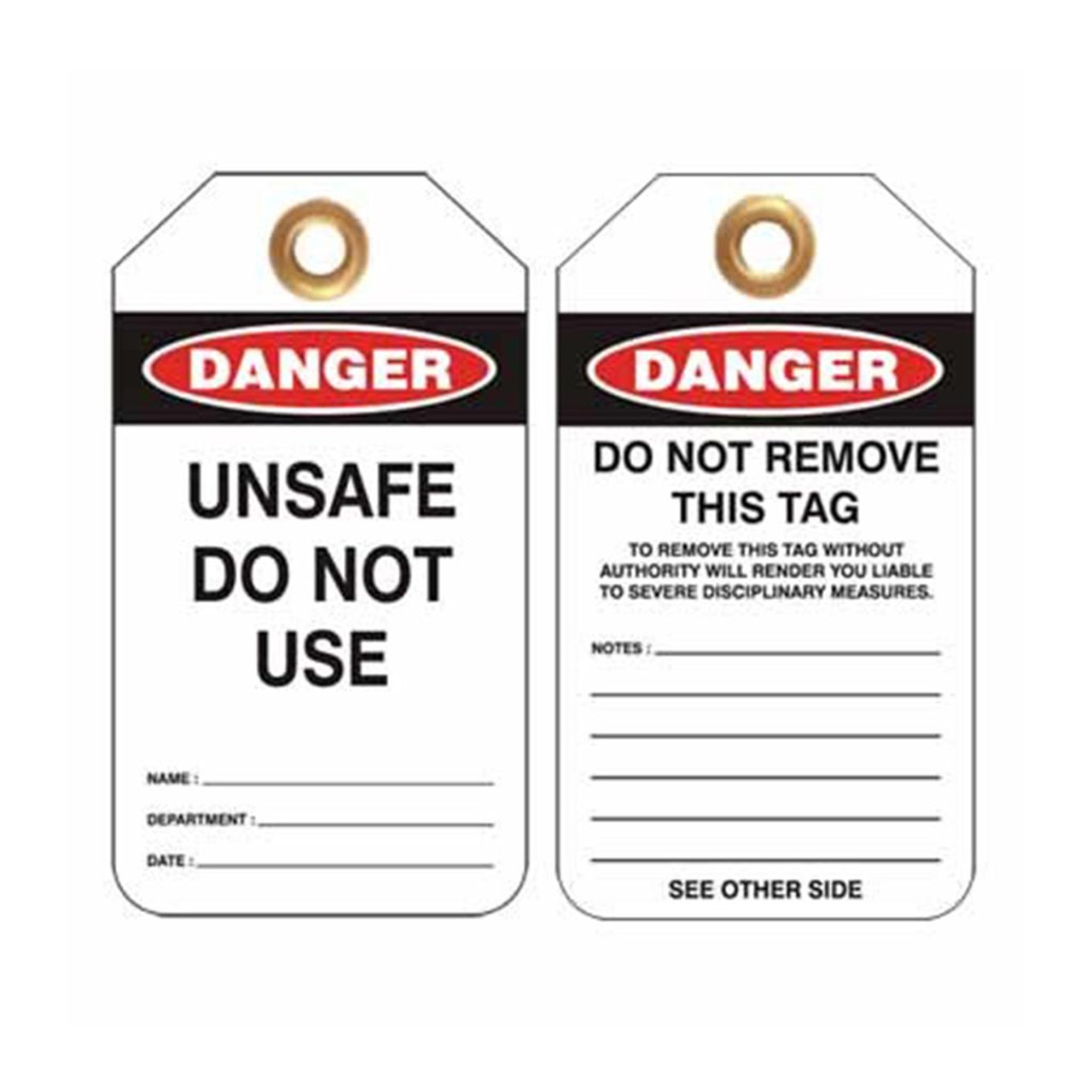 Lockout Tag Danger Unsafe Do Not Use