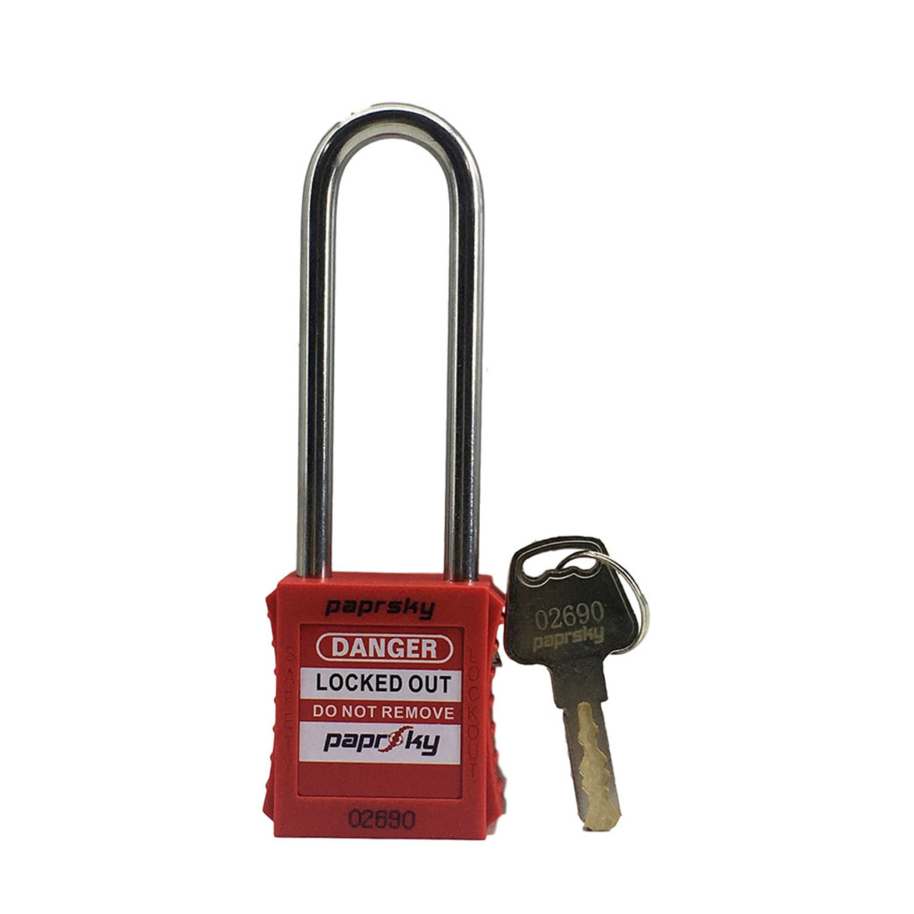 Lockout Padlock Red locks PS-LOTO-PPR-76 long shackle steel