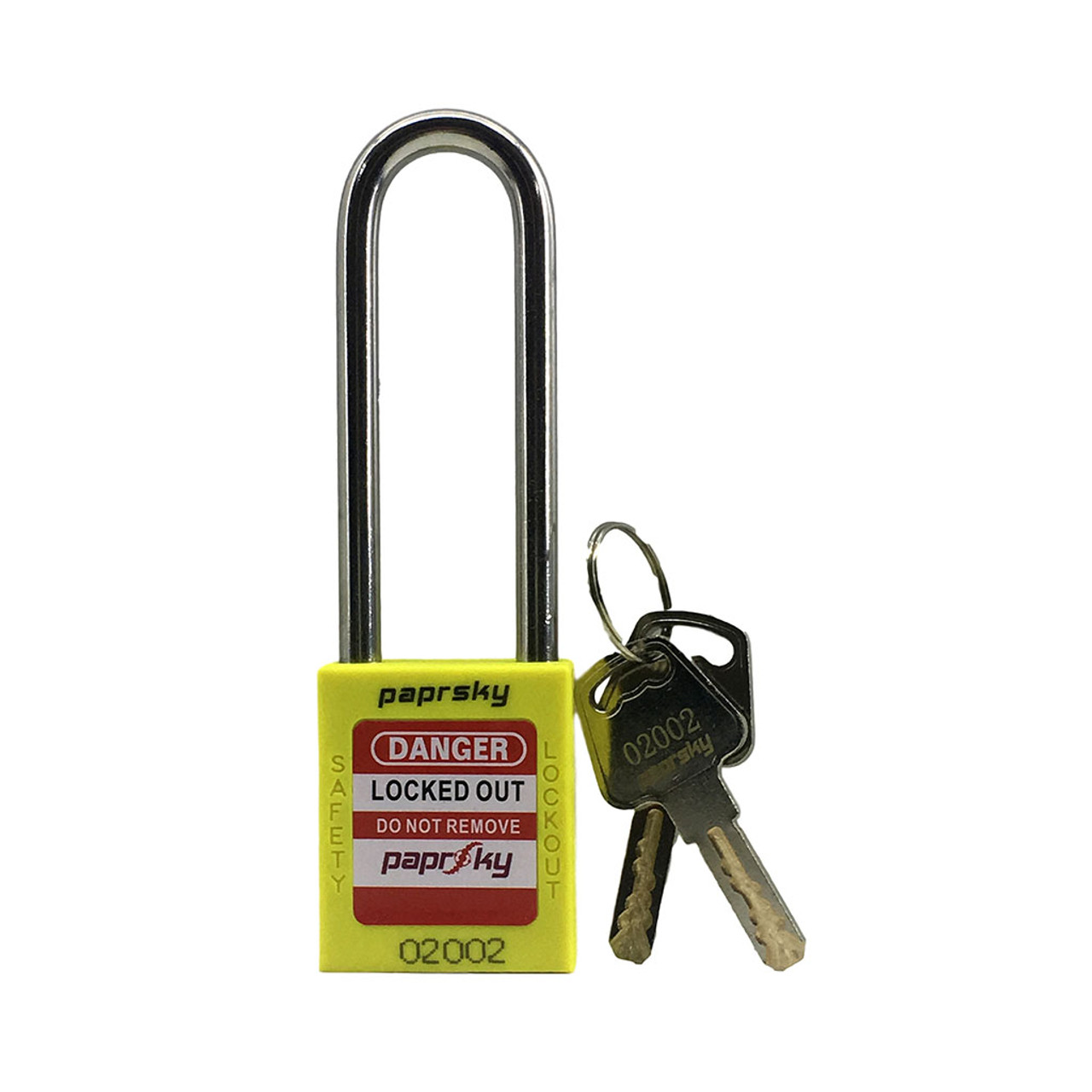 Lockout Padlock Yellow locks PS-LOTO-PPR-76 long shackle steel