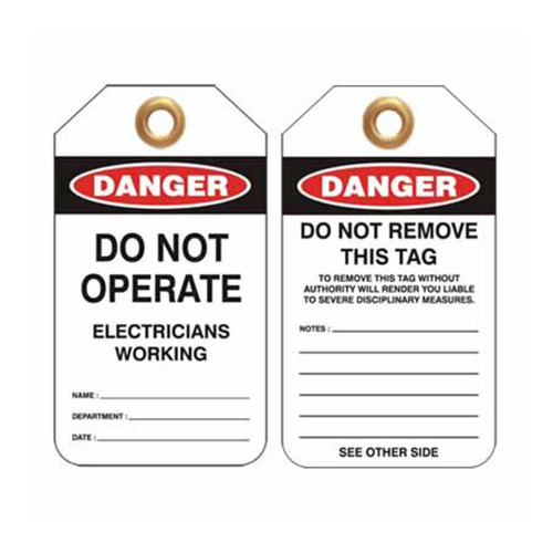Lockout Tag Danger Do Not Operate Electricians Working