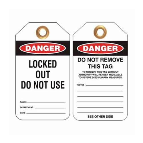 Lockout Tag Danger Locked Out Do Not Use