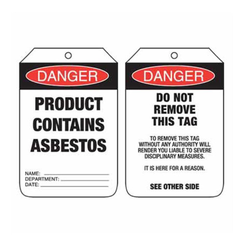 Lockout Tag Danger Product Contains Asbestos