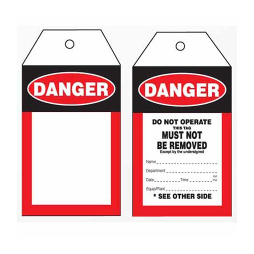 Lockout Tag Tear Proof Double Sided PSP102TP
