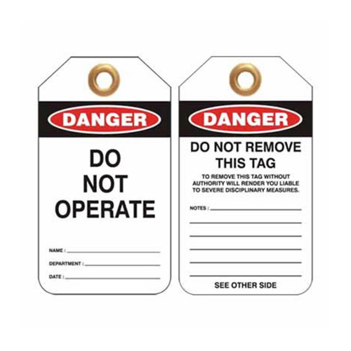 Lockout Tag Danger Do Not Operate