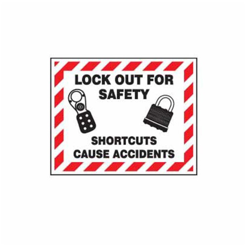 Lockout Wall Sign Lockout For Safety Shortcuts Cause Accidents  - PS- LOTO-SAFETY-SIGN