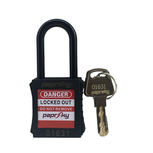 Dielectric Padlock Black locks PS-LOTO-PPNR-38 regular plastic shackle