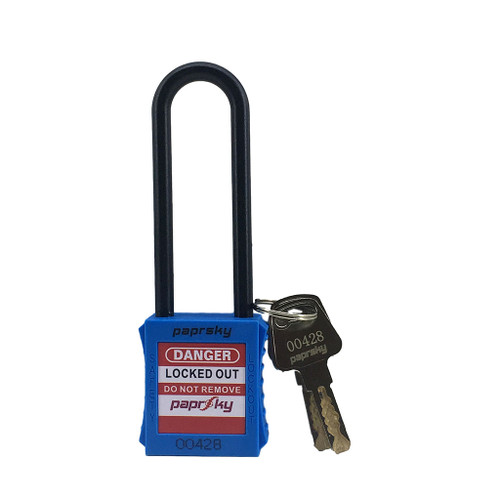 Dielectric Padlock Blue locks PS-LOTO-PPNR-76 long plastic shackle
