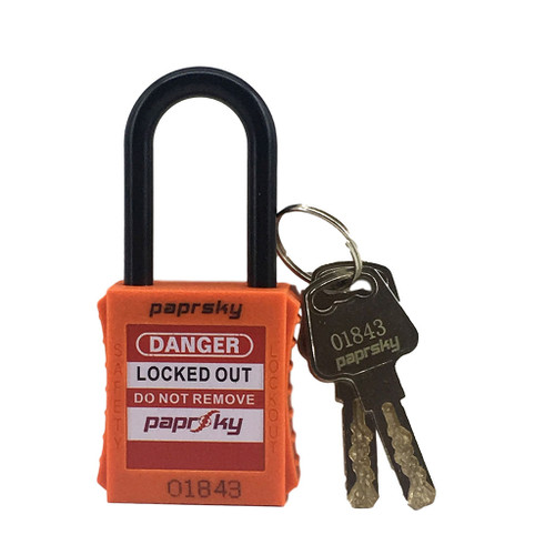 Dielectric Padlock Orange locks PS-LOTO-PPNR-38 regular plastic short shackle