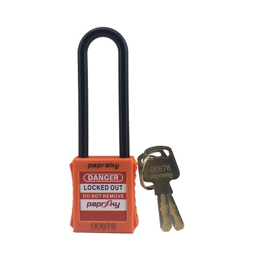 Dielectric Padlock Orange locks PS-LOTO-PPNR-76 long plastic shackle