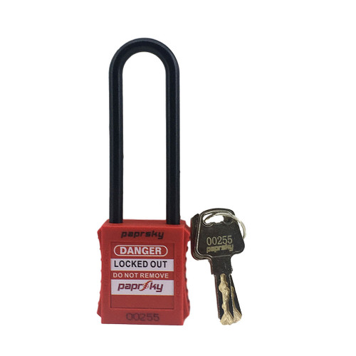 Dielectric Padlock Red locks PS-LOTO-PPNR-76 long plastic shackle