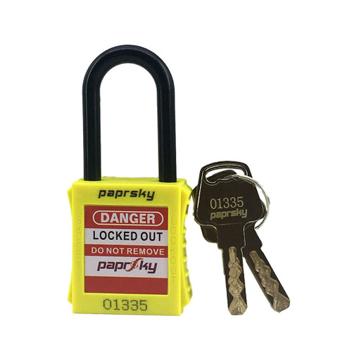 Dielectric Padlock Yellow locks PS-LOTO-PPNR-38 regular plastic shackle