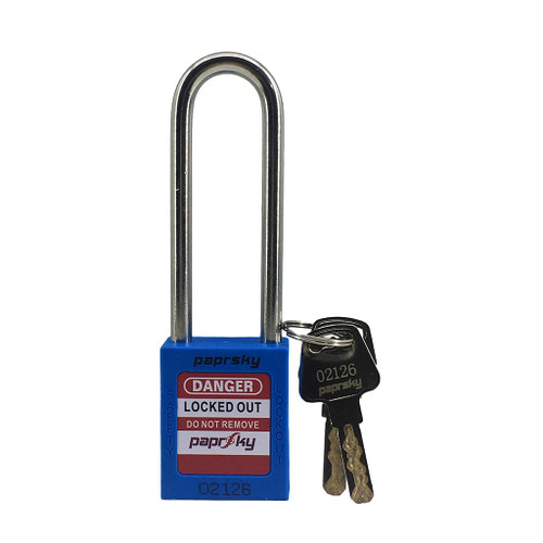Lockout Padlock Blue locks PS-LOTO-PPR-76 long shackle steel