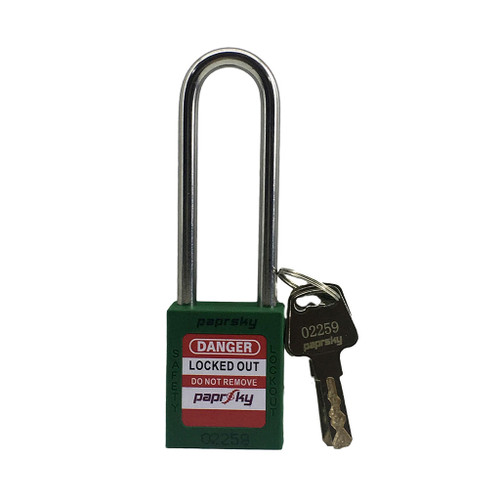 Lockout Padlock Green locks PS-LOTO-PPR-76 long shackle steel