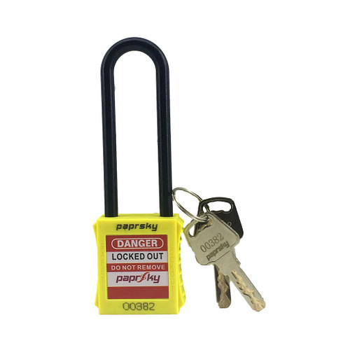 Lockout Padlock Dielectric Yellow PS-LOTO-PPNR-76 long plastic shackle