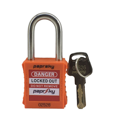 Lockout Padlock Orange regular steel shackle -  PS-LOTO-PPR-38