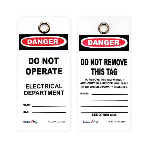 Lockout Tag Danger Do Not Operate Electrical Department PS-LOTO-TAG-ELEC