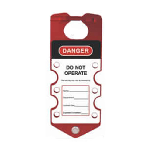 Tago Hasp - Red 6 Hole PS-LOTO-HASP-2IN1TAG6