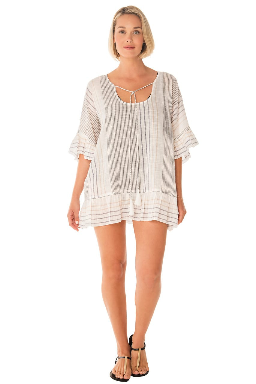 887fe7cbca37c Penbrooke 5522806 Ruffle Sleeve and Ruffle Bottom with Tie Front Swim Suit Cover  Up