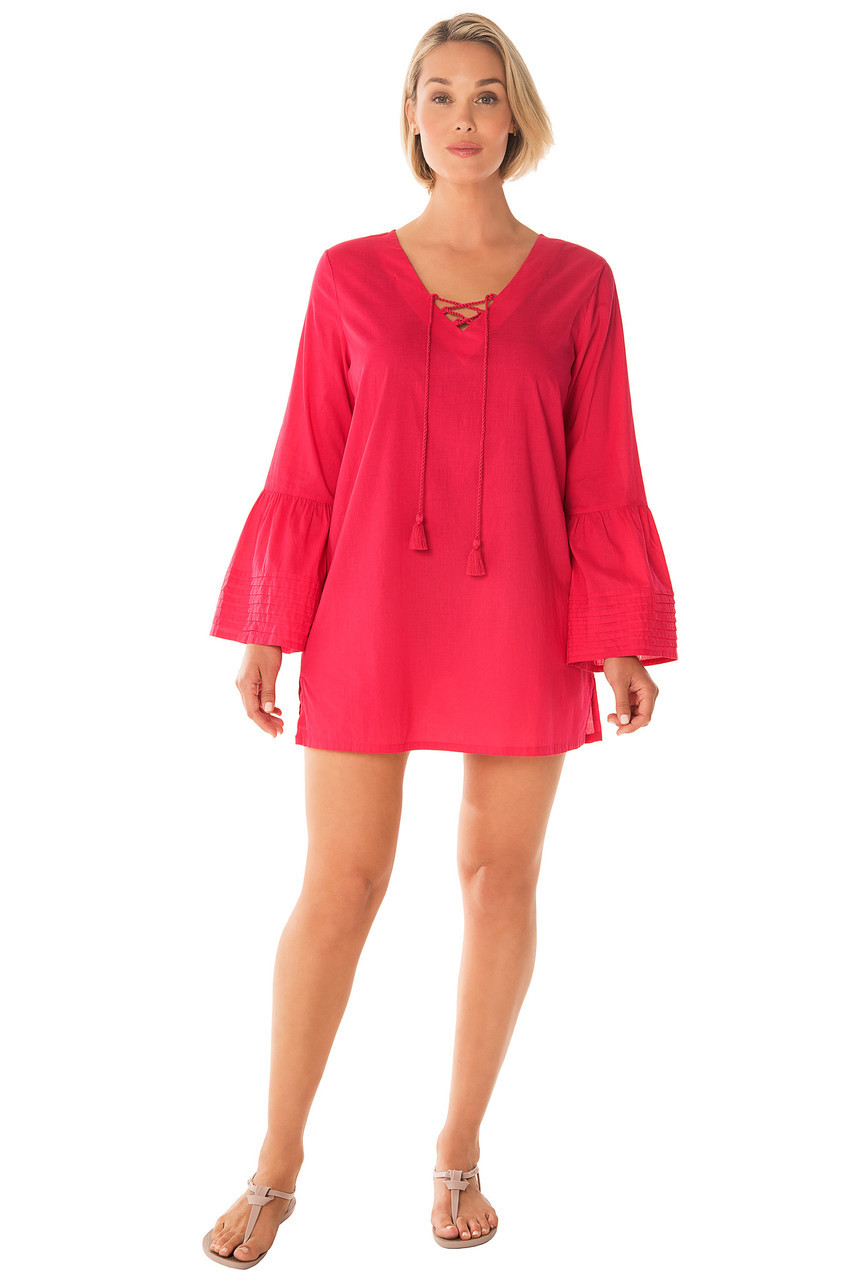 4f49dfd235fd7 Penbrooke V Neck with Bell Sleeves Swim Suit Cover Up ...