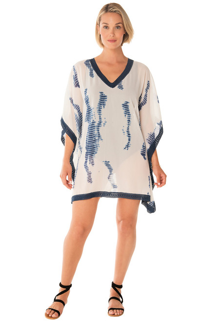 f3742fcbaa51f Penbrooke 5522805 V Neck Tie Dye Swim Suit Cover Up with Lace Trim
