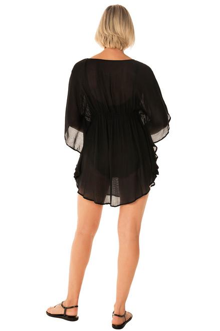 2218b6373f784 ... Penbrooke 5523114 Slightly Fitted Flutter Sleeve Swim Suit Cover Up ...