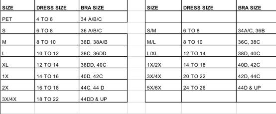 Luisa Size Chart