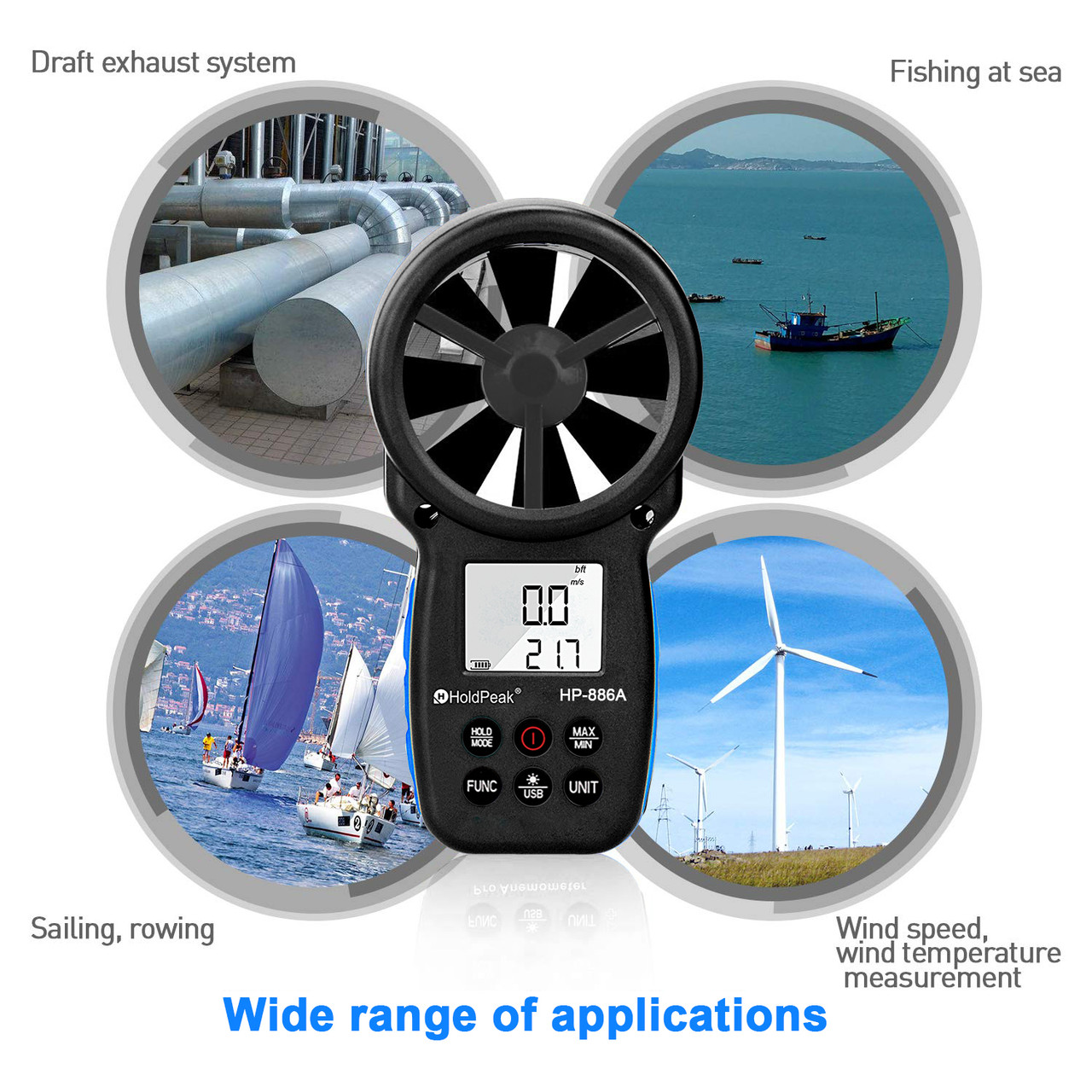 HP-866A Digital Anemometer Handheld CFM Meter with USB Connect - Wind Speed  Meter Measures Wind Speed + Temperature + Dew Point + Air Flow Meter with