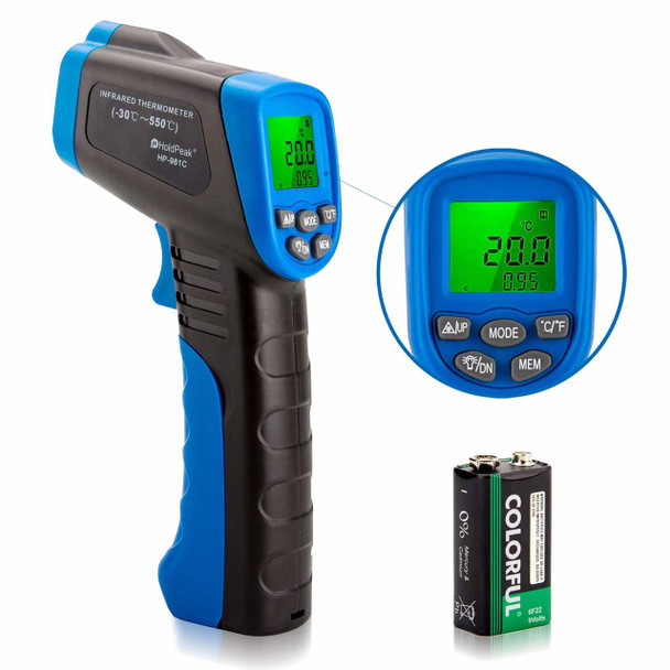 Non-Contact Infrared Thermometer -58 to 1022℉ (-50 to 550℃)