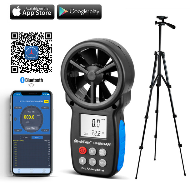 Digital Anemometer, Handheld APP Data Support Wind Speed Meter