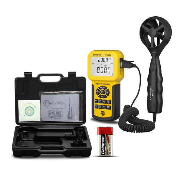 Digital Pro Anemometer Handheld HP-856A USB Anemometer HVAC Wind Speed Meter with Backlight Max/Min/Avg Functions for Measuring Wind Speed Air Velocity Temperature Air Flow Meter