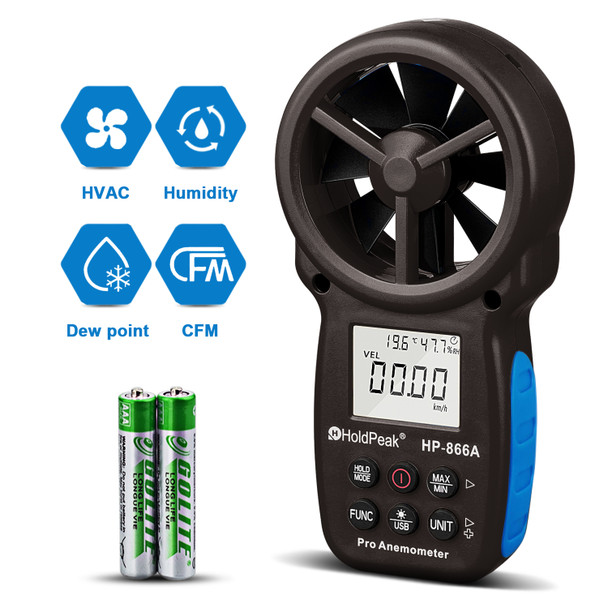HP-866A Digital Anemometer Handheld CFM Meter with USB Connect - Wind Speed Meter Measures Wind Speed + Temperature + Dew Point + Air Flow Meter with Data Hold & USB & Relative Humidity