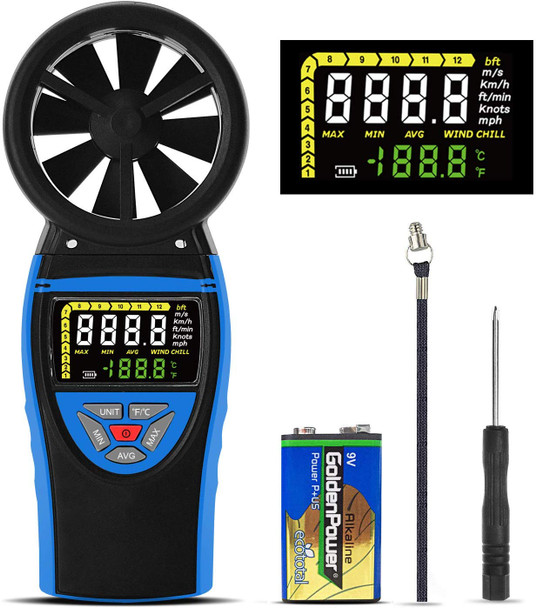 Digital Vane Anemometer, Anemometer, Wind Speed Meter, Multimeter,color screen