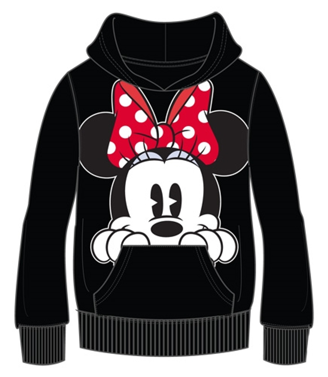 Plus Size Disney Womens Hoodie Minnie Mouse Peeking Pullover Sweatshirt Small