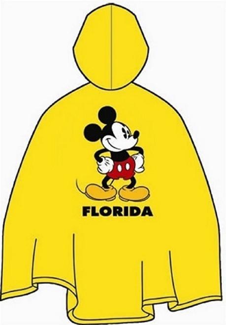 Disney Mickey Mouse Yellow  Youth  Unisex Poncho - (Florida Namedrop)