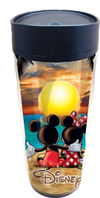 Disney Sunset Two Mickey Mouse Minnie Mouse 18 Ounce Tumbler Travel Mug