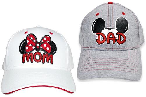 Disney Dad Mickey & Mom Minnie Hats Baseball Caps Men's Women's Adult 2 Pack